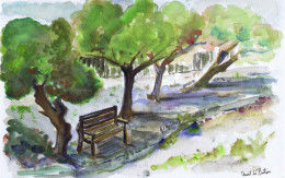 watercolour trees ,seat & stream