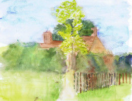 watercolour cottage & path