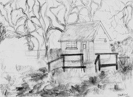 sketch of shed & trees