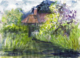 watercolour of house & orchard